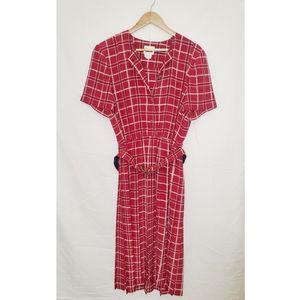 VINTAGE 80's Leslie Fay Red Dress